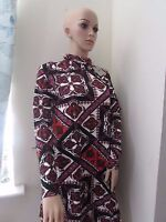 Asos Paisley swing Dress Polo neck 6 8 10 12 18   Red /Multi