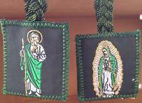 Virgen De Guadalupe Y San Judas Tadeo Escapulario Trenzado Color Verde