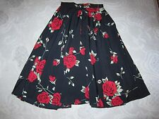 "Ad Hoc London brand full twirl skirt, black w red rose floral print - 25"" waist"