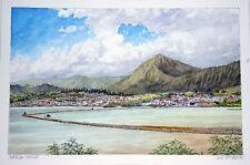 "Orig Hawaii Watercolor Painting ""The Fishpond Paepae o He'eia"" by L Segedin #71"