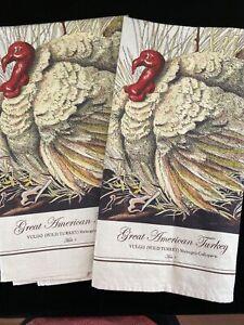 Set of 2 Williams Sonoma Botanical American Turkey Kitchen Towels Thanksgiving