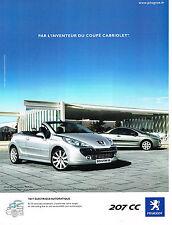 PUBLICITE ADVERTISING 114  2009  PEUGEOT  207 CC toit éléctrique automatique