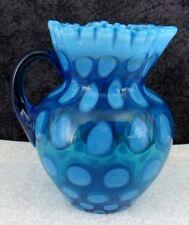Antique Coinspot Blue Opalescent Glass Water Pitchers
