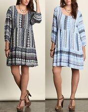 Umgee Plus Size (XL, 1XL, 2XL) Bohemian Floral Print Babydoll Peasant Dress