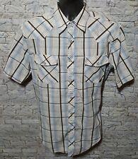 Coastal Men's Plaid Short Sleeve Pearl Snap Button Western Cowboy Shirt Large