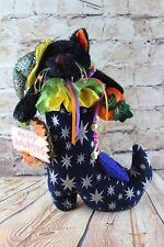 Happy Haunting Halloween Black Stuffed Plush Cat in Witches Boot Door Stop 14""