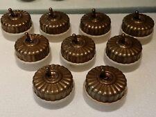9 Pc Rare Vintage Melon Brass & Ceramic Porcelain Light Electric Switches Button