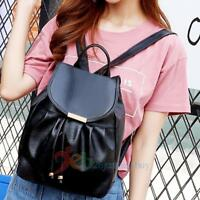 Women PU Leather Backpack Drawstring Travel Satchel Rucksack Shoulder School Bag