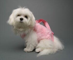PINK Faux Fur pet small dog carrier harness sling puppy purse fleece M
