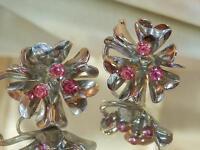 Pink Rhinestone Art Deco Vintage 40's 50's Screw Back Flower Earrings 311o6