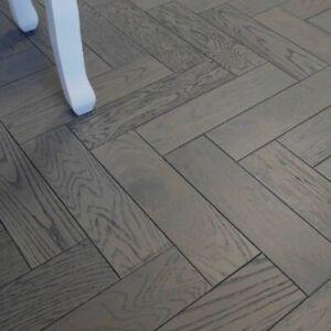 💣 18mm Charcoal Graphite Grey Oak Herringbone Parquet Engineered Wood Flooring