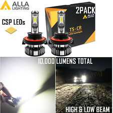 Alla Lighting Super Slim LED H13 Headlight Hi Low Beam Bulb White Fix Dust Cover