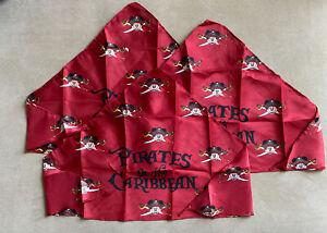 Disney Cruise Line Pirates Of The Caribbean Red Handkerchief Bandana - Lot of 3