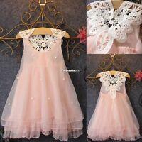 Flower Girl Princess Dress Kid Baby Party Wedding Lace Tulle Tutu Dresses ESY1