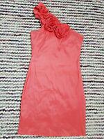 Ladies AX PARIS One Shoulder Bodycon Dress Size 12 Coral Pink Flowers Zipper