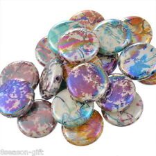 "20PCs Acrylic Spacer Beads Flower Pattern Round Mixed AB Color 27mm(1 1/8"")Dia."