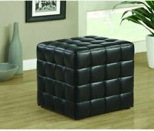 "Faux Leather Accent Cube Ottoman 16.75 X17X16.75"" Classic Square Shape Black NIB"