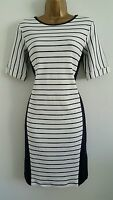 NEW Ex M&S 8-18 Striped Side Panelled 100% Cotton Navy Blue White Shift Dress