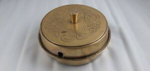 Antique Gold Metal Round Shape Lidded Butter Dish with spoon missing.
