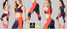 ZUMBA 3Pc.SET!! Team Z Capri Leggings FLATTERING + Racerback Tank + Zip BRA TOP