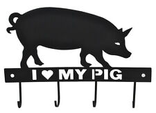NEW Black Sheet Metal Coat Hook I Love My Pig Country Kitchen Home Decor