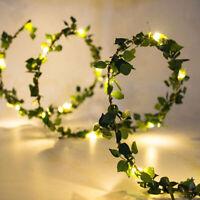 LED Artificial Leaves Fairy String Lights Ivy Leaf Garland Wedding Party AU