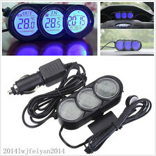 Car SUV Mini Indoor Outdoor Temperature Thermometer LCD Digital Date Clock Gauge