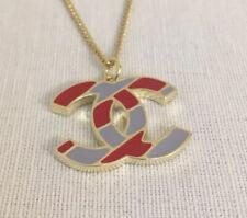 Chanel CC Necklace Pendant — Winter Classic 06 Edition GREY and CRIMSON enamel.