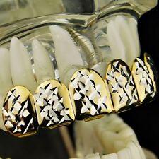 14K Gold Plated Grillz w/Silver Diamond-Cut 2-Tone 6 Top Upper Row Teeth Grills