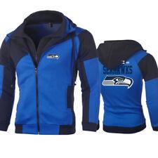 Seattle Seahawks Hoodie Mens Full Zip Sweatshirt Football Hooded Jacket Coat Top