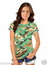 Boys Men Military Camouflage Camo Tshirt Army Combat Fancy Dress Ladies Top Olive Green Age 13
