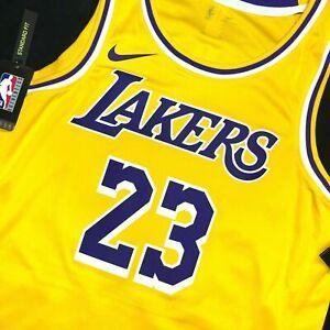 New LA Lakers Lebron James Home Gold Nike Swingman Sewn Jersey BOYS Sz XL