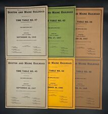 Lot Of 6 Boston & Maine Railroad Employee Time Tables & Rule Booklets 1946-1949