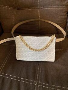 Michael Kors 554131C Sz XL Vanilla White Pull Chain Fanny Pack Belt MK Logo Bag
