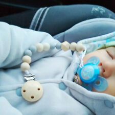 1pc Blue Baby Pacifier Soother Clip Wood Bead Nipple Chain Dummy Holder Supplies