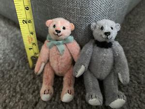"Artist Miniature Dollhouse Jointed Teddy  Bear 3"" Duo Lot 2 Pink & Gray Girl/boy"