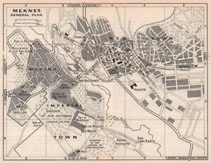 Meknes - General plan vintage town city tourist plan. Morocco 1966 old map