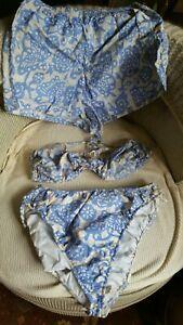 Vintage 3 Piece Bikini Swimsuit Swimwear Set, Measurements in Description