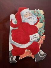Vtg Whitman Christmas Greeting Card Diecut Santa Claus carry wreath Flocked 50s