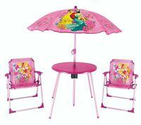 Kids Disney Princess Garden Picnic Chair Table & Parasol Sun Shade Umbrella Set