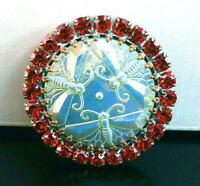 Vintage Style Czech ALL Glass Rhinestone Pin Brooch #T058 - SIGNED