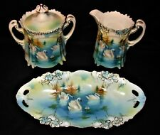 Antique RS Prussia Swan Pattern Sugar, Creamer and Mint Tray In Icicle Design