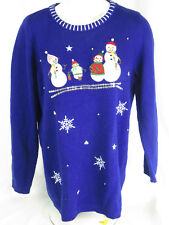 White Stag Ugly Tacky Christmas Sweater Snowmen blue 1X 16W  long sleeve
