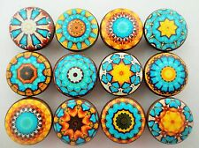 Set of 12 Aqua Blue and Yellow Mendala Cabinet Knobs