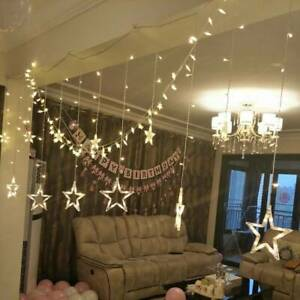 12X LED Christmas Curtain Twinkle Star String Fairy Lights Party Decor Xmas Prop