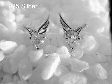 925 Silber Engel- Flügel Weiß - Zirkonia -Ohrstecker Ohrringe - Strass, Liebe!
