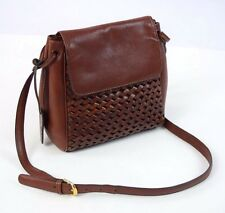 Vtg ETIENNE AIGNER Brown Leather Chain Link Crossbody Hand Bag Satchel Purse M