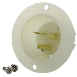 20 Amp NEMA 6-20P White/Clear Flanged Power Male Inlet by AC WORKS®