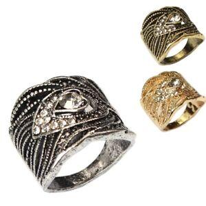 Edelstahl Ring Modeschmuck Strass Herz Gold Silber Bronze