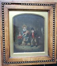 Petit tableau ancien HSP Scène de famille The Mouse 1839 Wallis ? Ecole anglaise